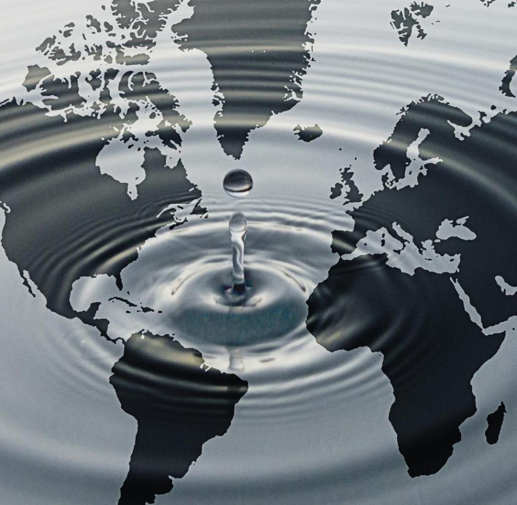 Rippling-water-over-map-of-globe